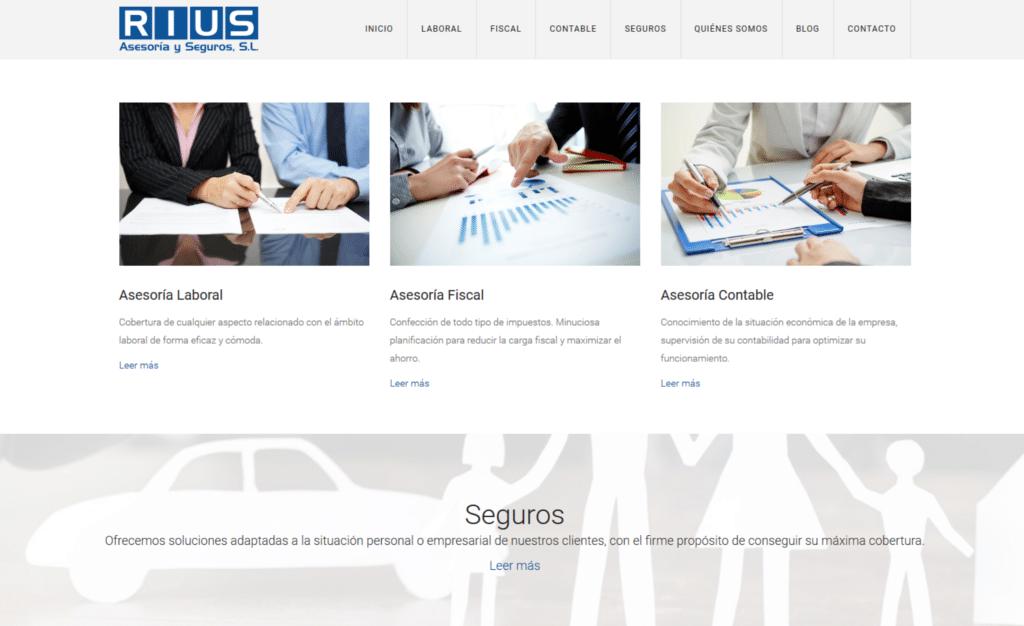 Página Web de Asesoría y Seguros Rius