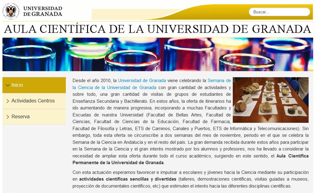 Página Web de Reservas del Aula Científica Permanente de la Universidad de Granada