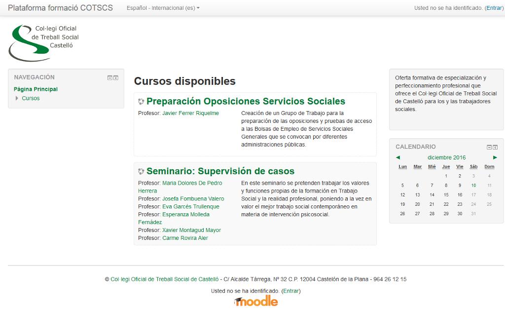 Plataforma de formación online del Colegio Oficial de Trabajo Social de Castellón