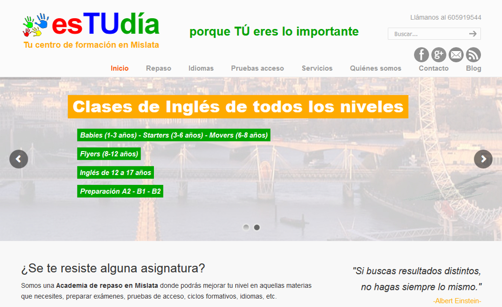 Página Web del centro de formación esTUdía