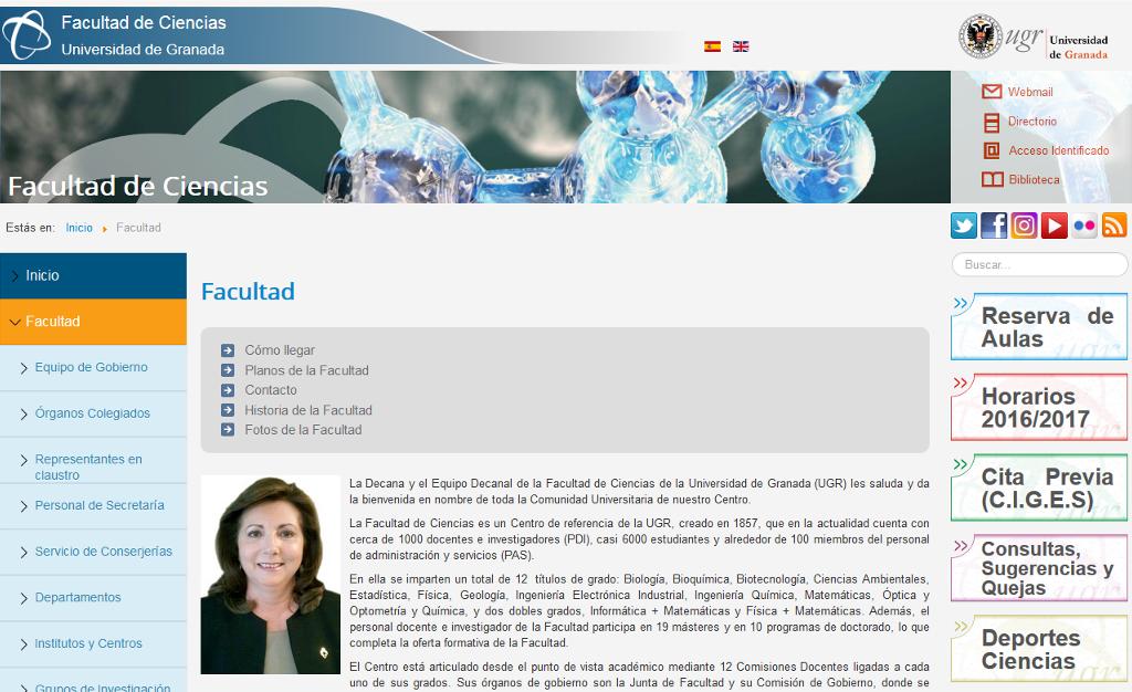 Página Web de la Facultad de Ciencias de la Universidad de Granada