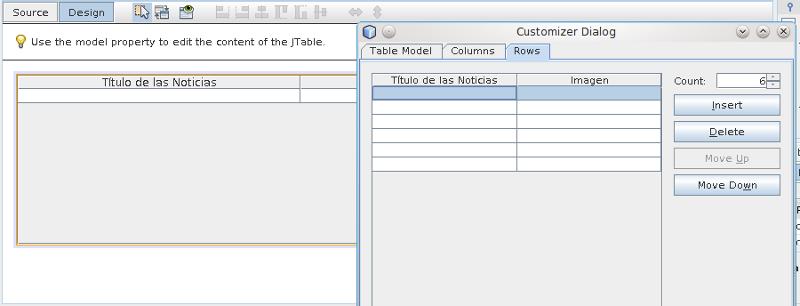 Captura de pantalla de las propiedades de un jTable desde Netbeans