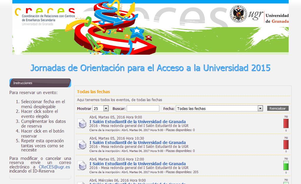 Página Web de las Jornadas de Orientación para el Acceso a la Universidad de Granada