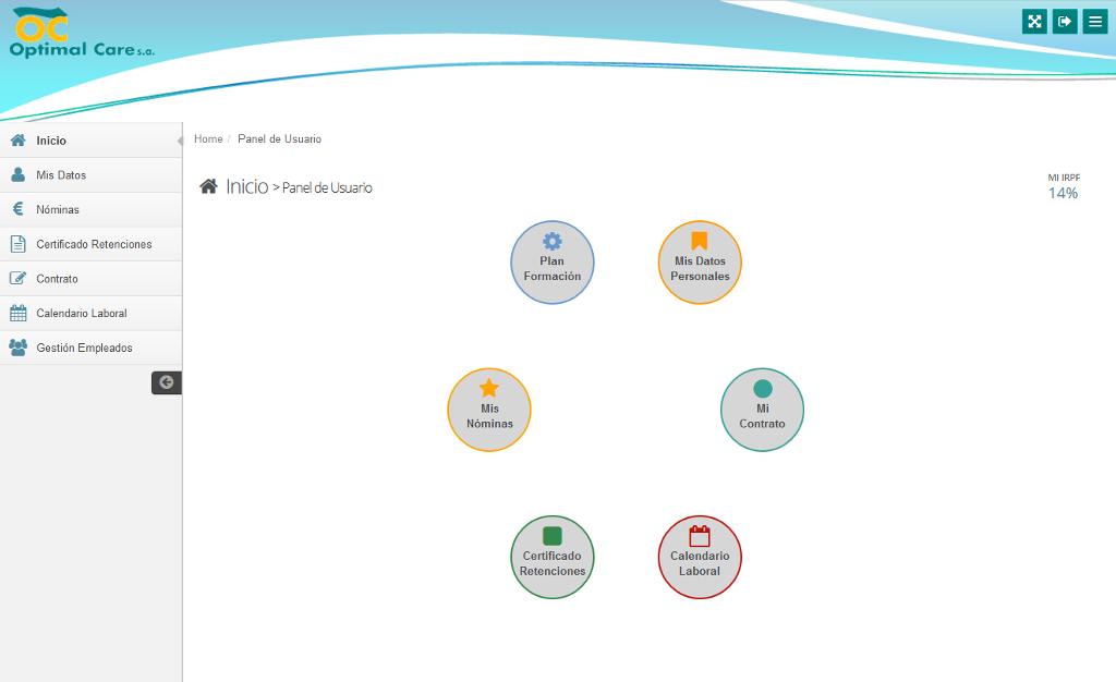 Sistema de comunicación entre el departamento de RRHH y empleados para Optimal Care S.A.