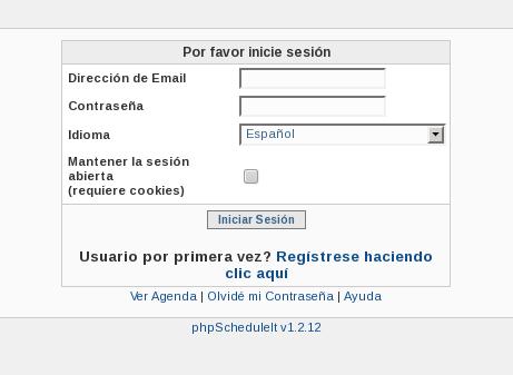 Captura de pantalla de phpScheduleIt en el primer arranque después de nstalar