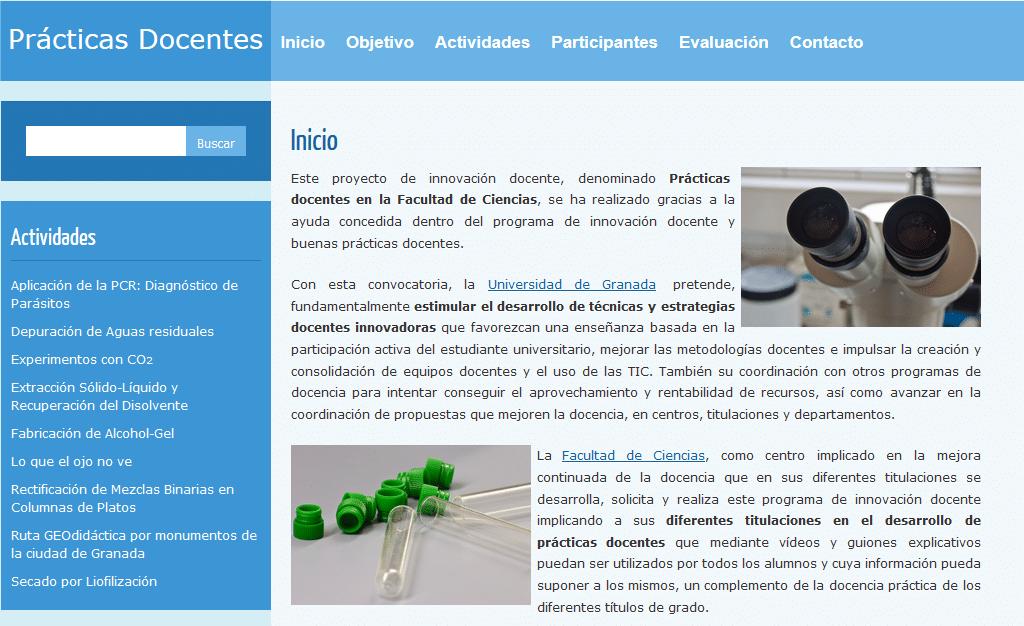 Página Web del Proyecto de innovación Docente «Prácticas Docentes»