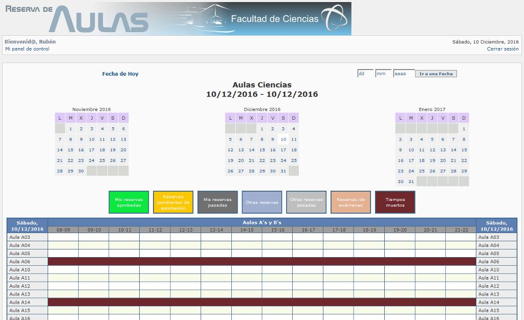 Sistema de reserva de espacios para la Facultad de Ciencias de la Universidad de Granada