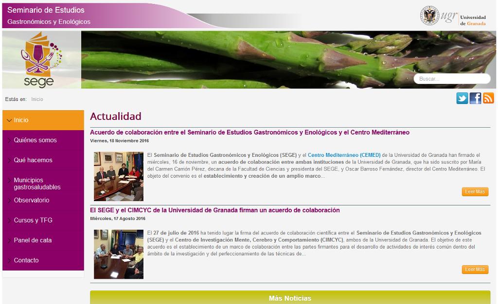 Página Web del Seminario de Estudios Gastronómicos y Enológicos – Universidad de Granada