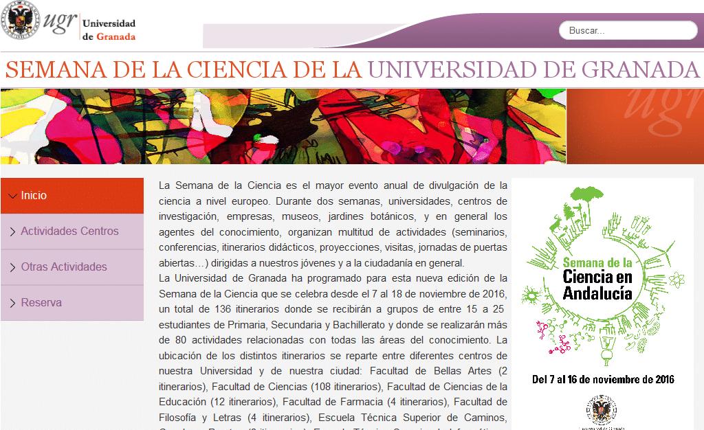 Página Web de reservas de la Semana de la Ciencias de la Universidad de Granada